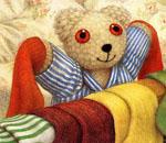 Обои - медвежонок в кроватке