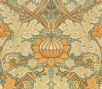 Обои - оранжевый цветочный узор от Вильяма Морриса